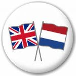 Great Britain and Netherlands Friendship Flag 25mm Pin Button Badge